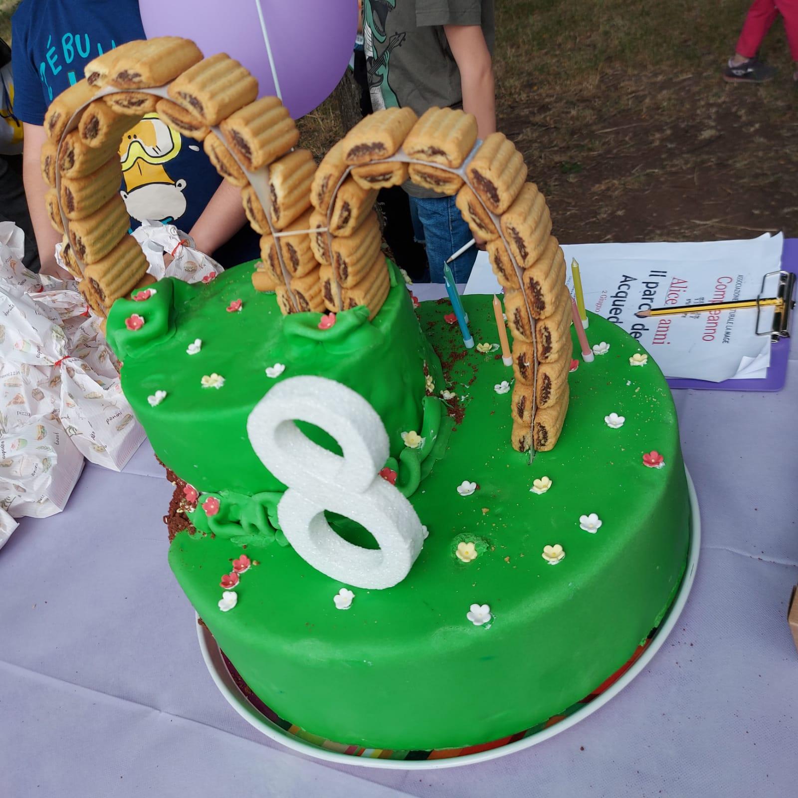 torta di compleanno festa parco acquedotti arte per bambini la mage